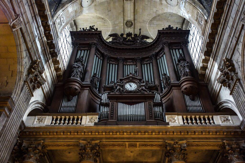 The organ inside the Church of Saint Sulpice.