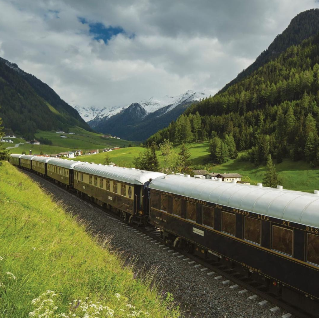 The Orient Express traveling through the Alps.