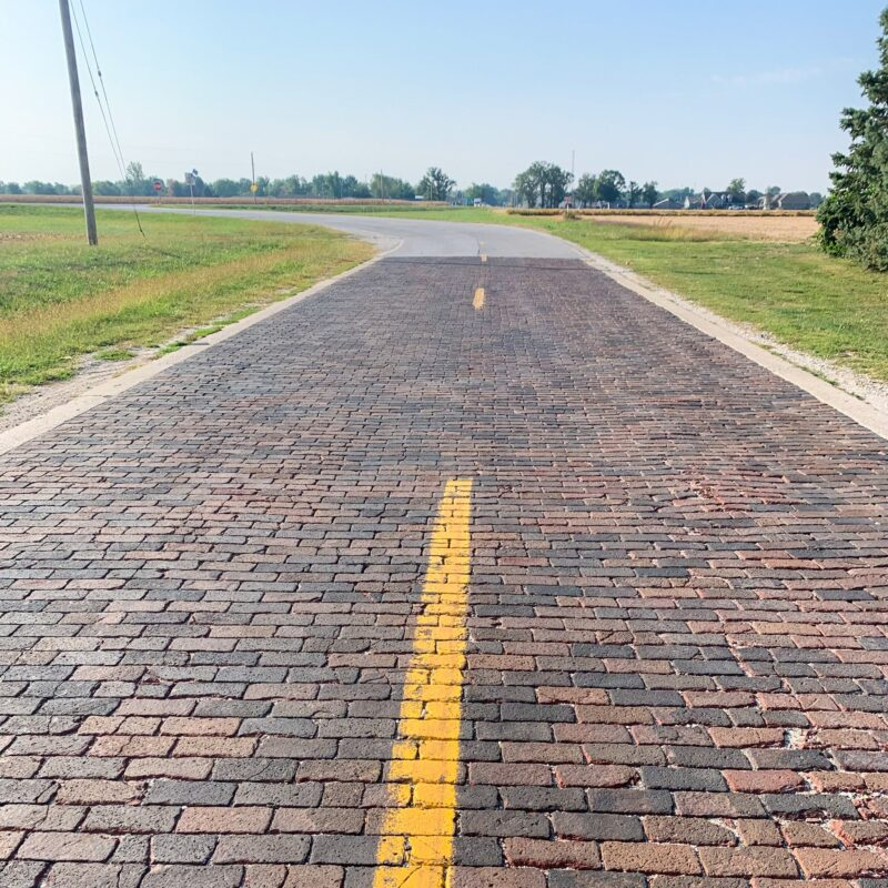 The original brick portion of Route 66 in Illinois.