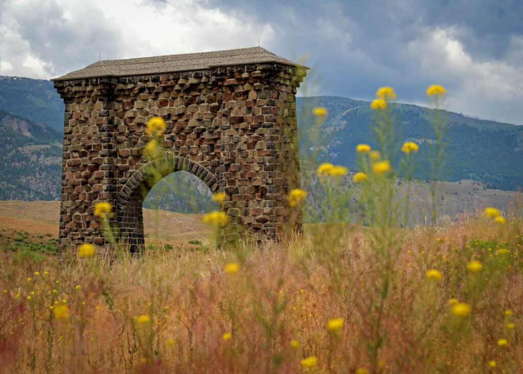 The original gate to Yellowstone National Park.