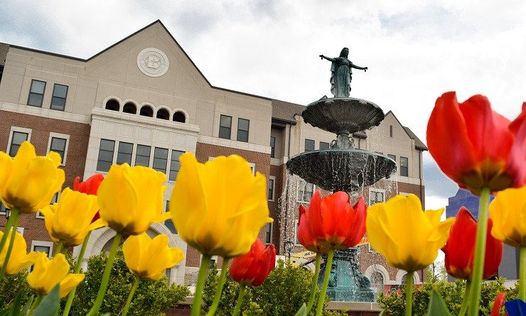 The Our Lady of Grace fountain at Benedictine College.