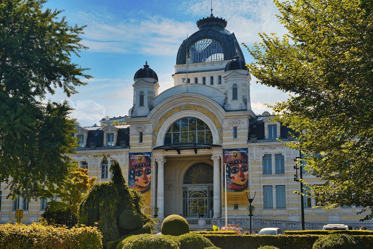 The outside of Evian Resort on the shore of Lake Geneva, France.