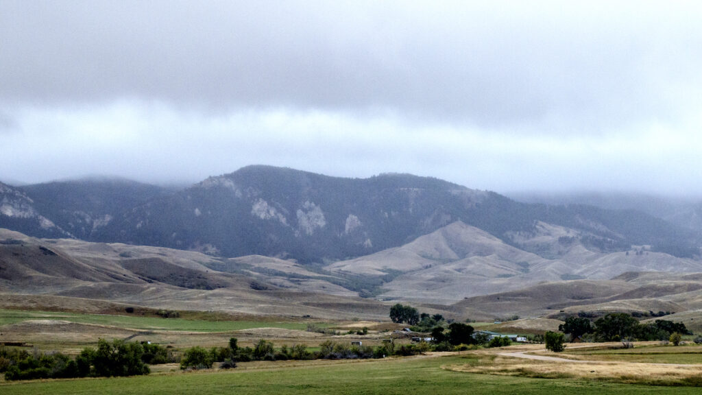 The overcast sky at Fort Phil Kearny in Wyoming.
