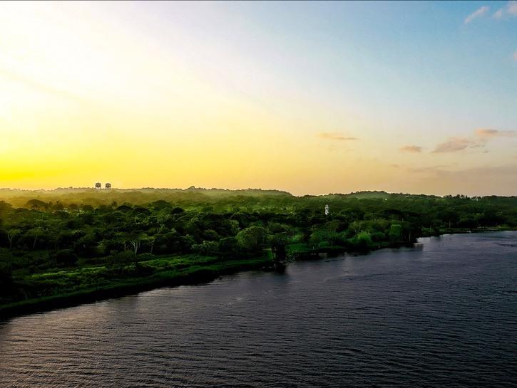 The Panama Canal at sunrise.