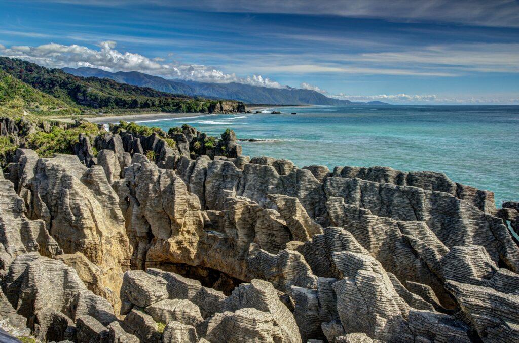 The Pancake Rocks in Punakaiki, New Zealand.
