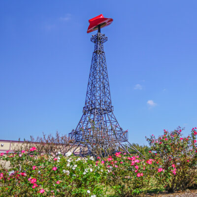 The Paris, Texas, Eiffel Tower with a cowboy hat on top.