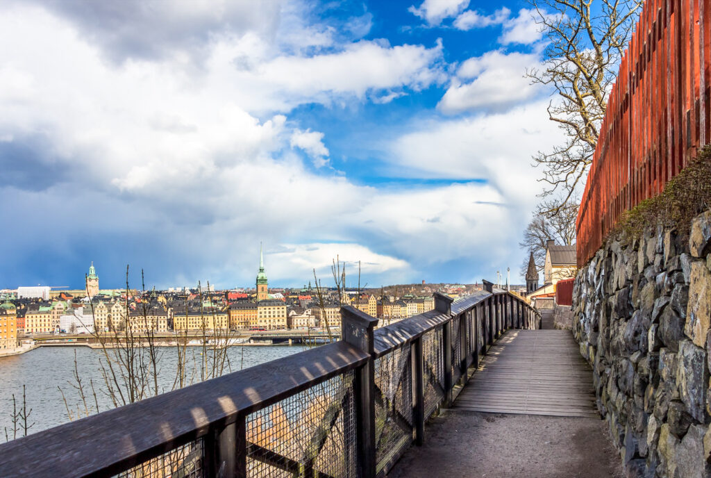 The path along Monteliusvagen in Stockholm.