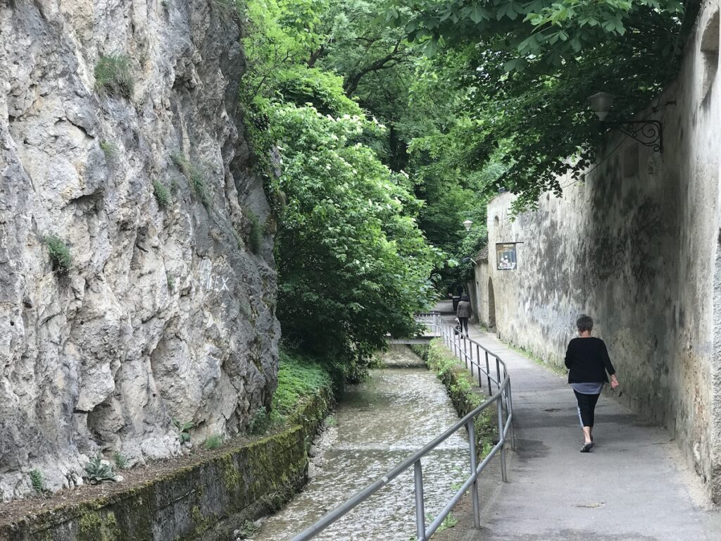 The path by the canal in Brasov, Romania.