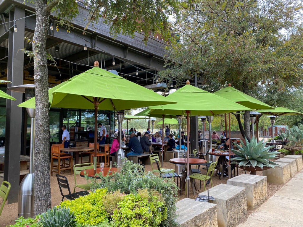 The patio at Press Cafe in Fort Worth, Texas.