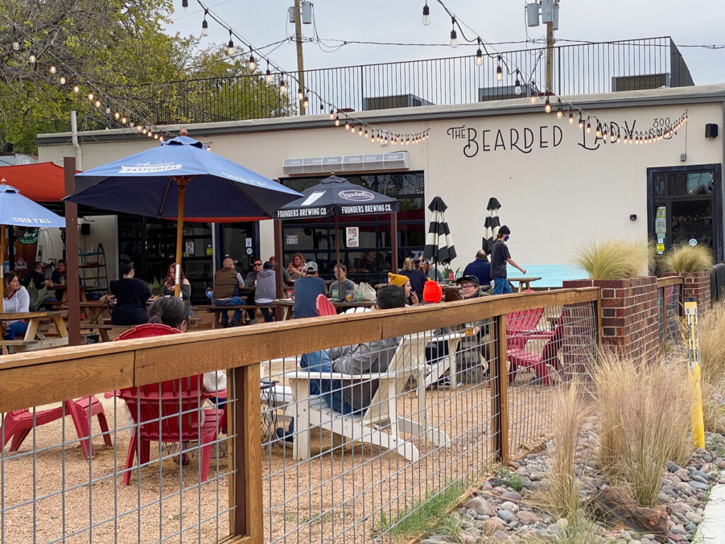 The patio at The Bearded Lady in Fort Worth, Texas.
