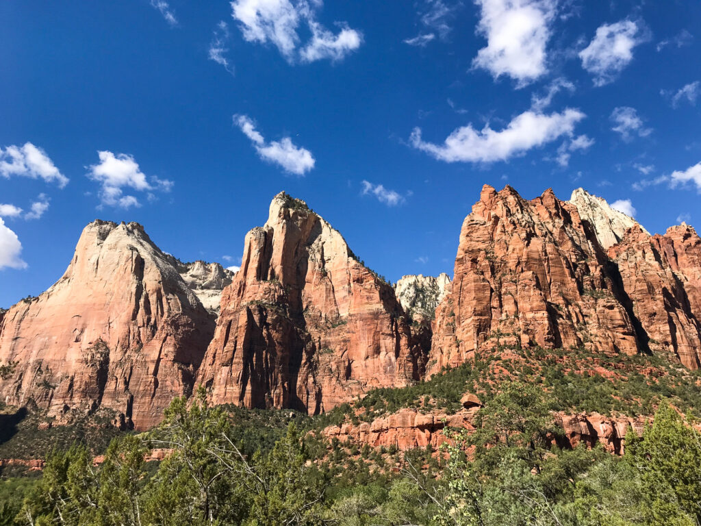 The Patriarchs in Zion National Park.