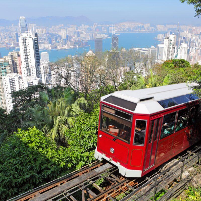 The Peak Tram, a funicular in Hong Kong, China.