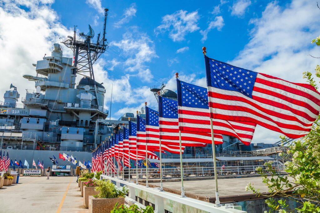 The Pearl Harbor memorial in Hawaii.