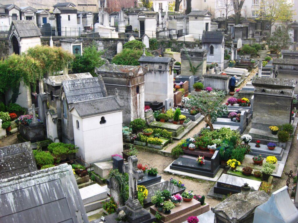 The Pere Lachaise cemetery in Paris.