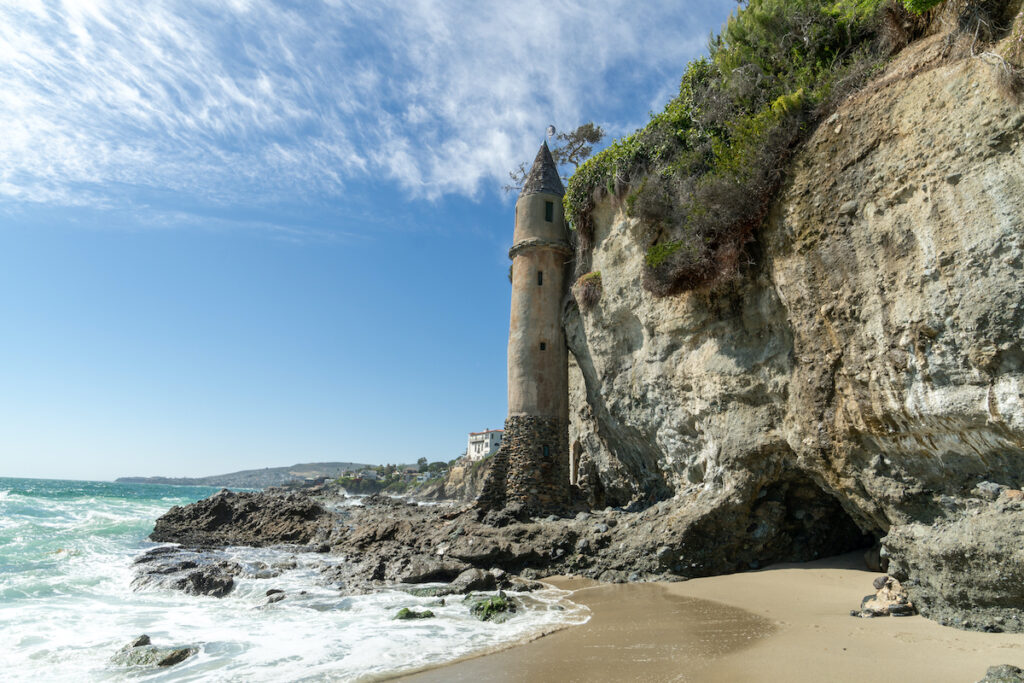 The pirate tower on Victoria Beach in California.