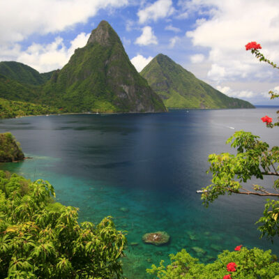 The Pitons in beautiful Saint Lucia.