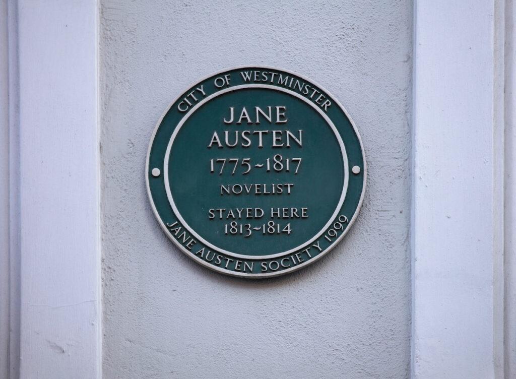 The plaque where Jane Austen live in Covent Garden.