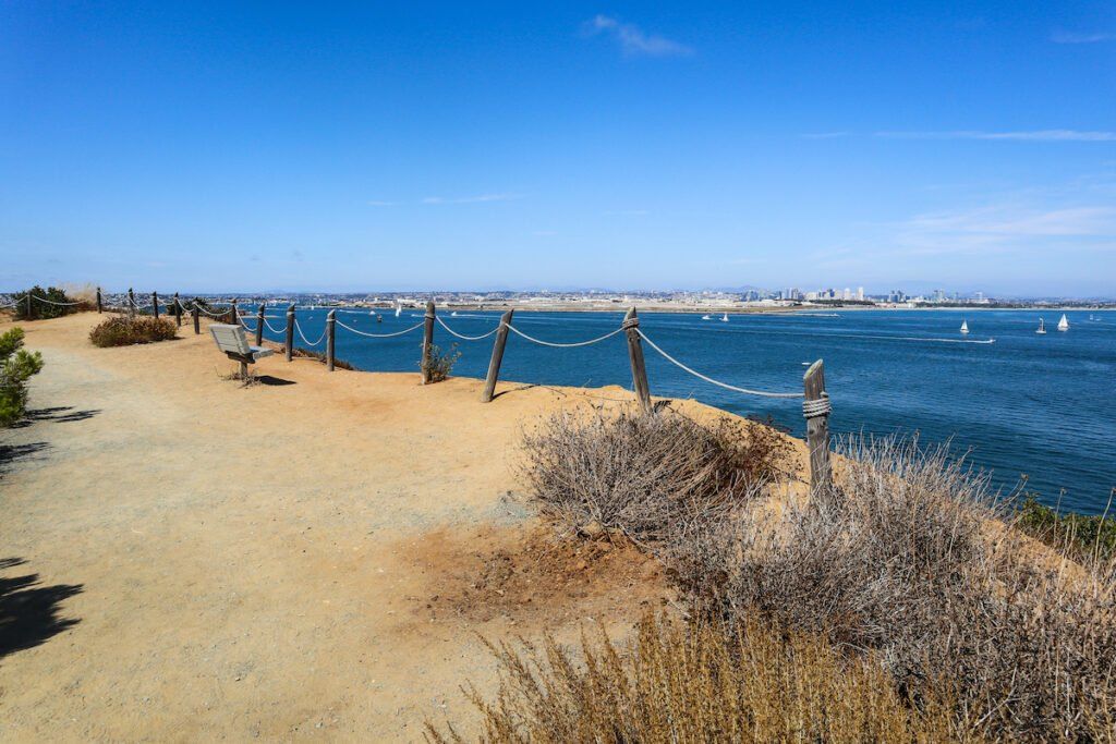 The Point Loma Bayside Trail overlooking San Diego Bay in California.