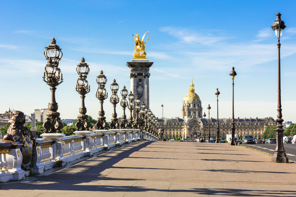 The Pont Alexandre III bridge in Paris, France.