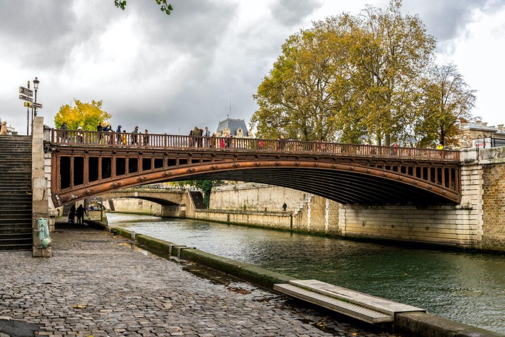 The Pont Au Double bridge in Paris, France.