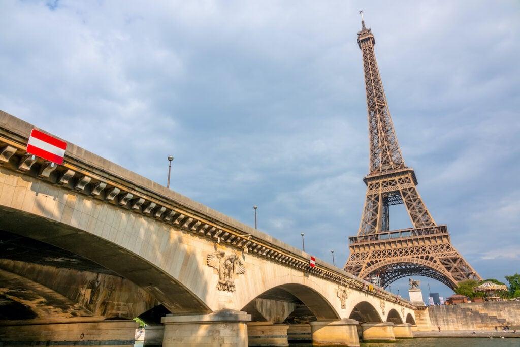 The Pont De L'Iena bridge in Paris, France.
