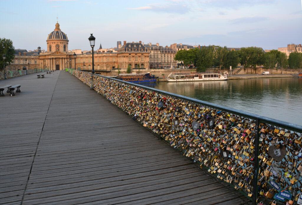 The Pont Des Arts bridge in Paris, France.