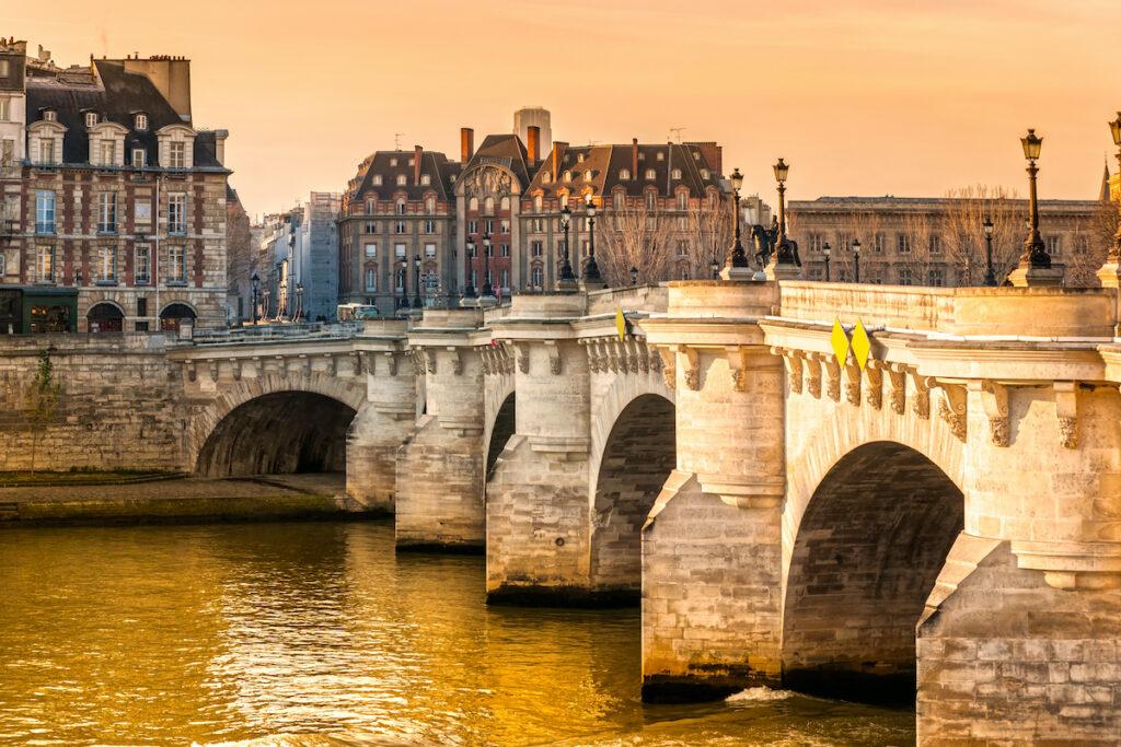 The Pont Neuf bridge in Paris, France.