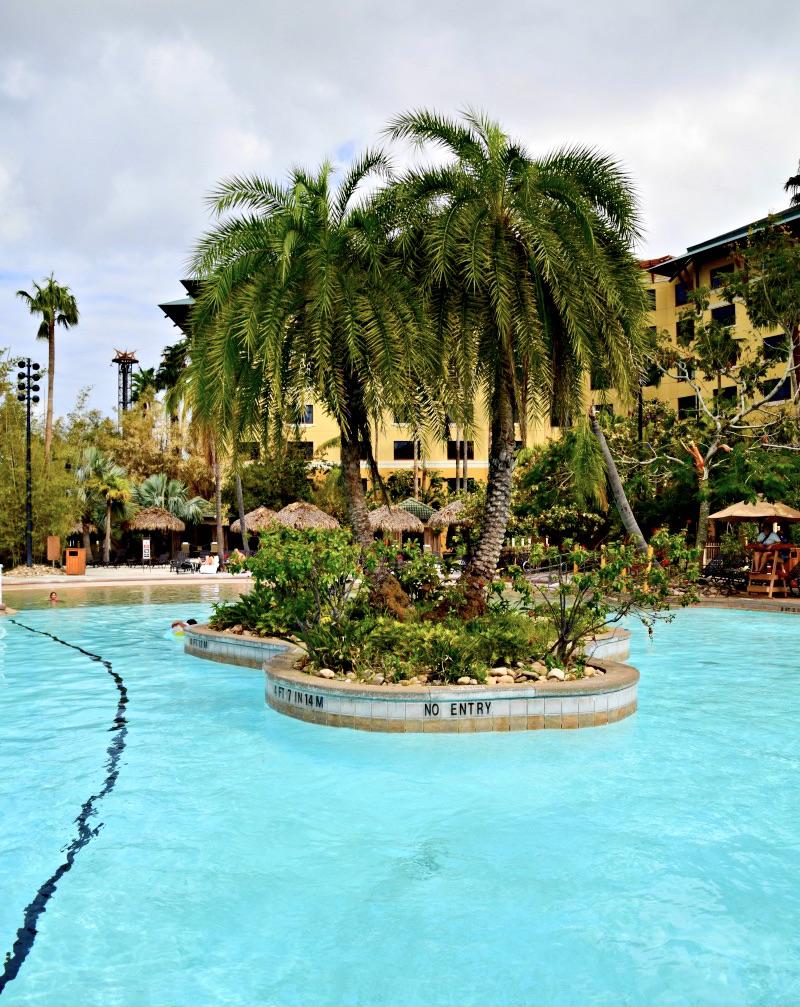 The pool area at Loews Portofino Bay Hotel.