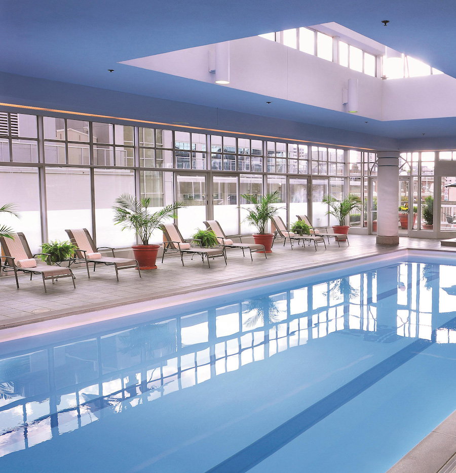 The pool at the Fairmont Hotel Vancouver.