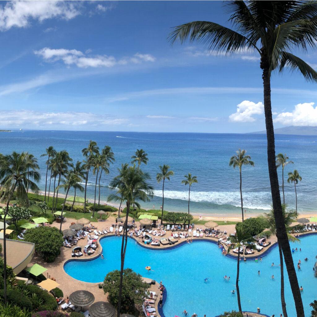 The pool at the Hyatt Regency Maui Resort.