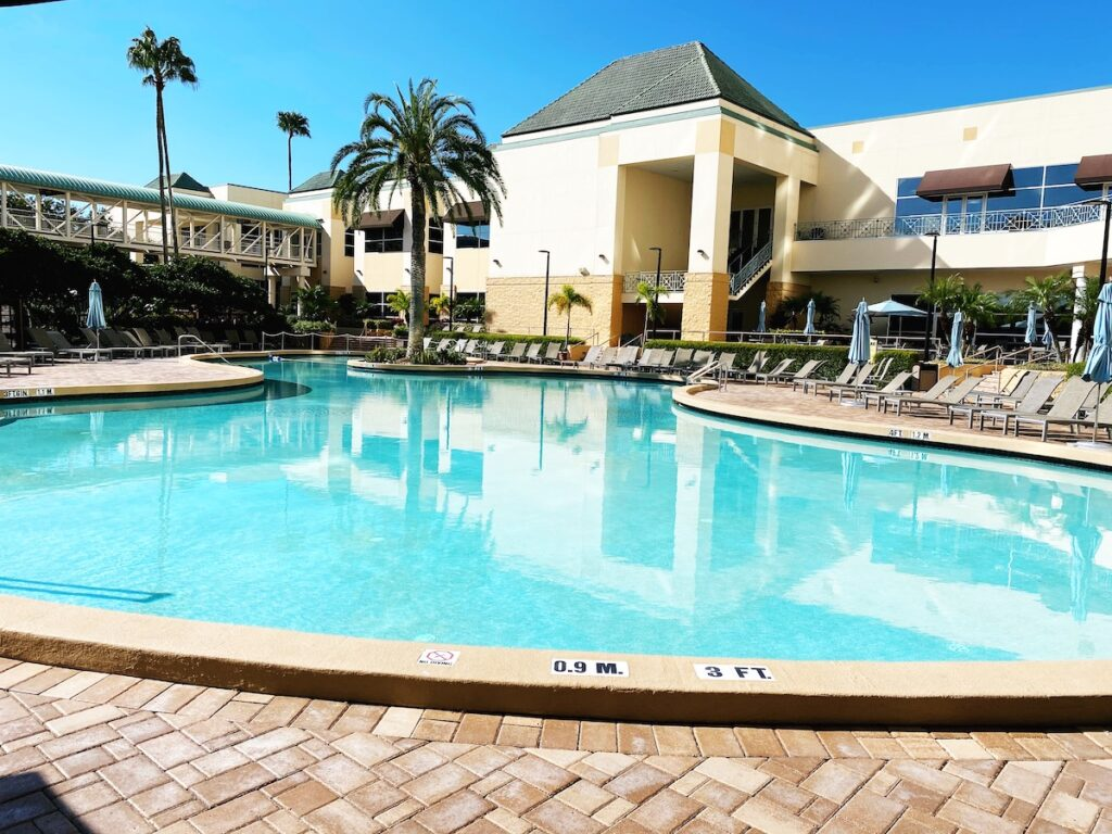 The pool at the Rosen Plaza hotel in Orlando.