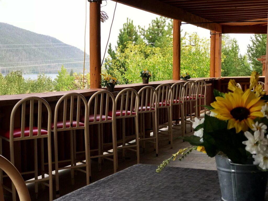 The porch at O-a Bistro in Grand Lake, Colorado.