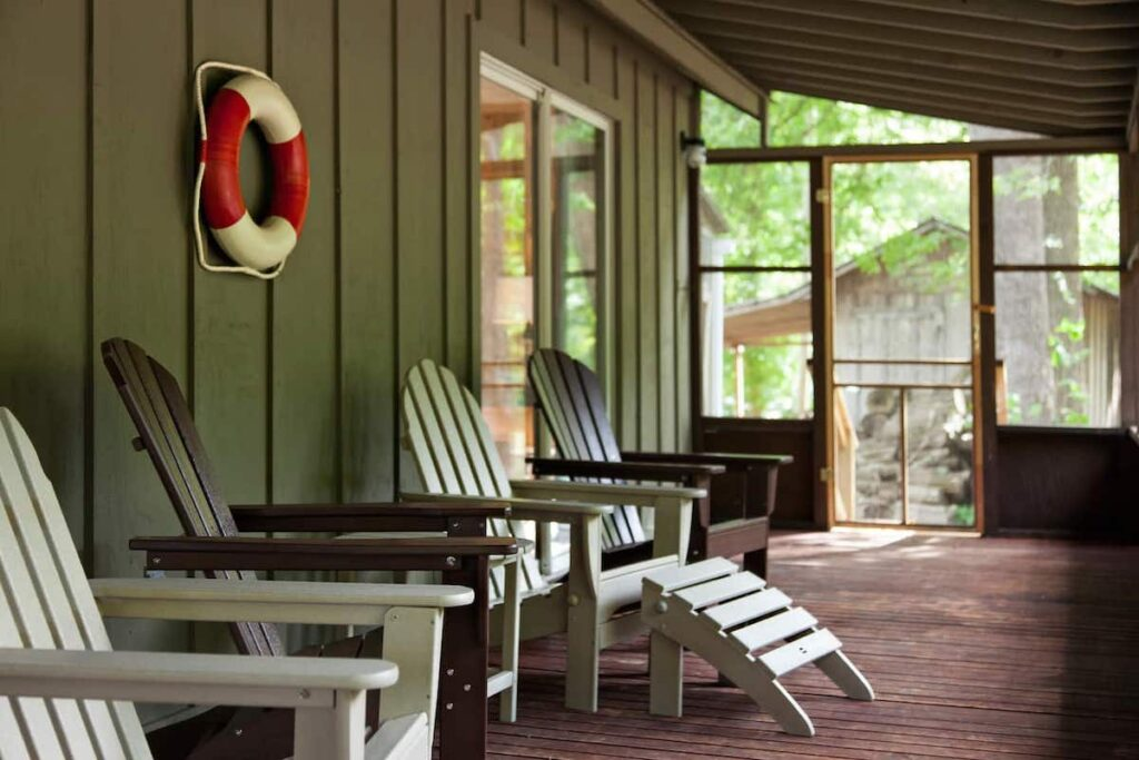 The porch at the Airbnb cabin in New River Gorge.