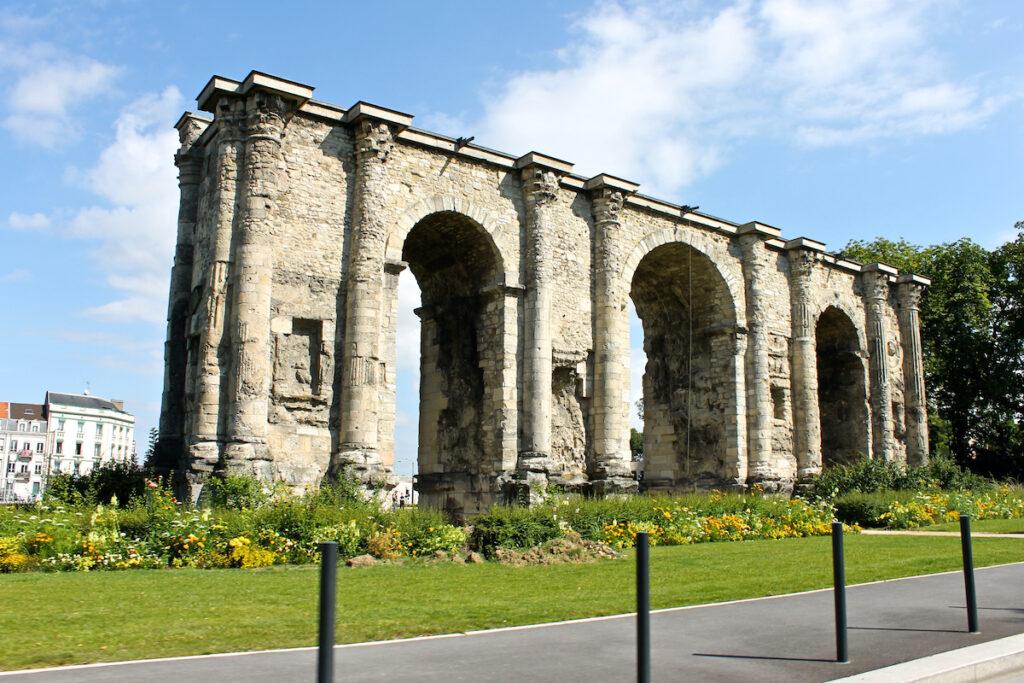 The Porte De Mars in Reims, France.