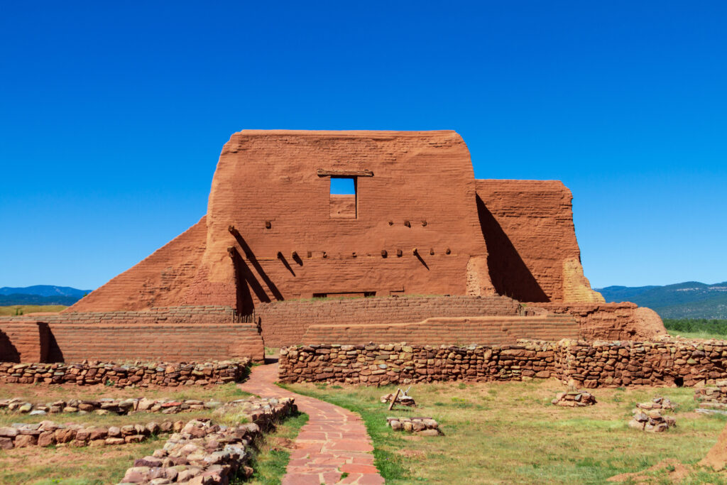 The Pueblo church along the Ancestral Sites Trail at Pecos National Monument.