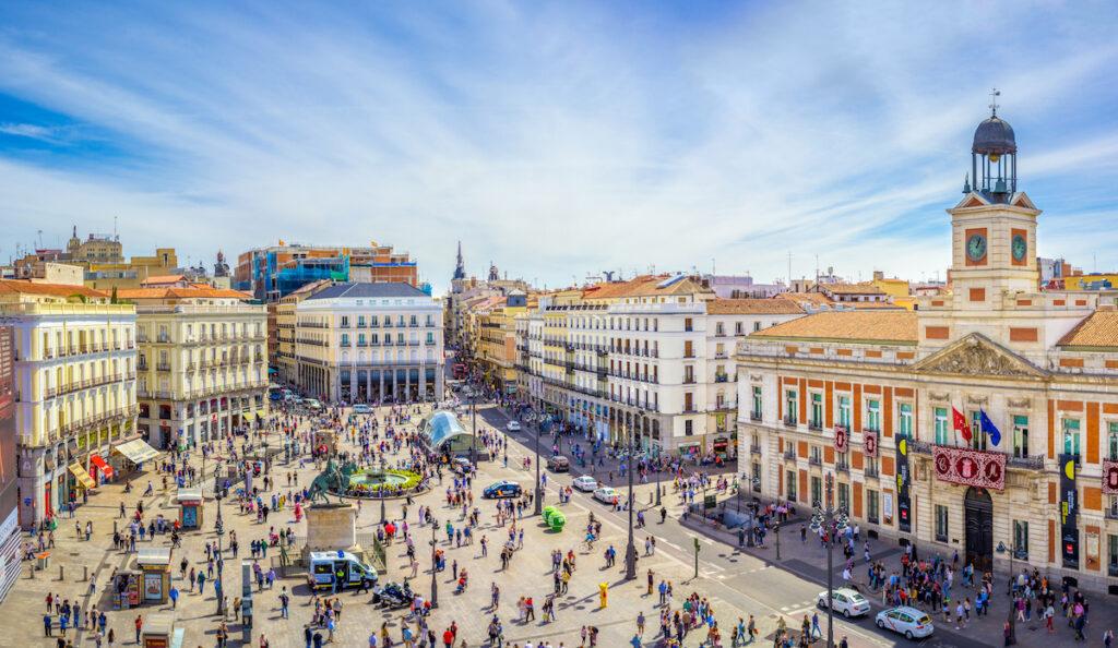 The Puerta del Sol square in Madrid, Spain, during April.