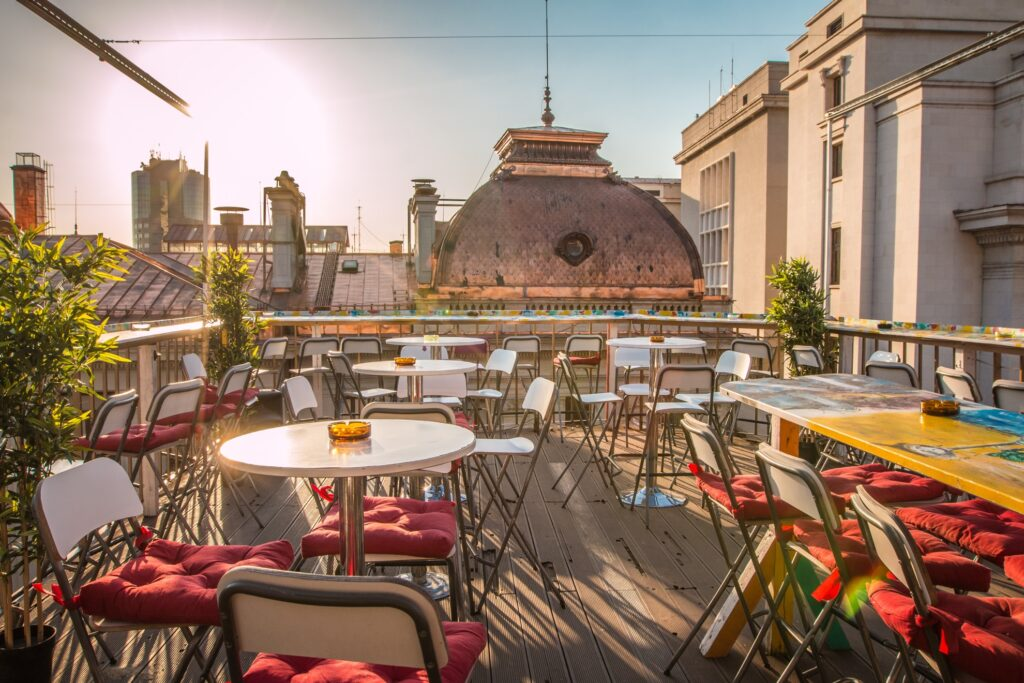 The Pura Vida Sky Bar in Bucharest.
