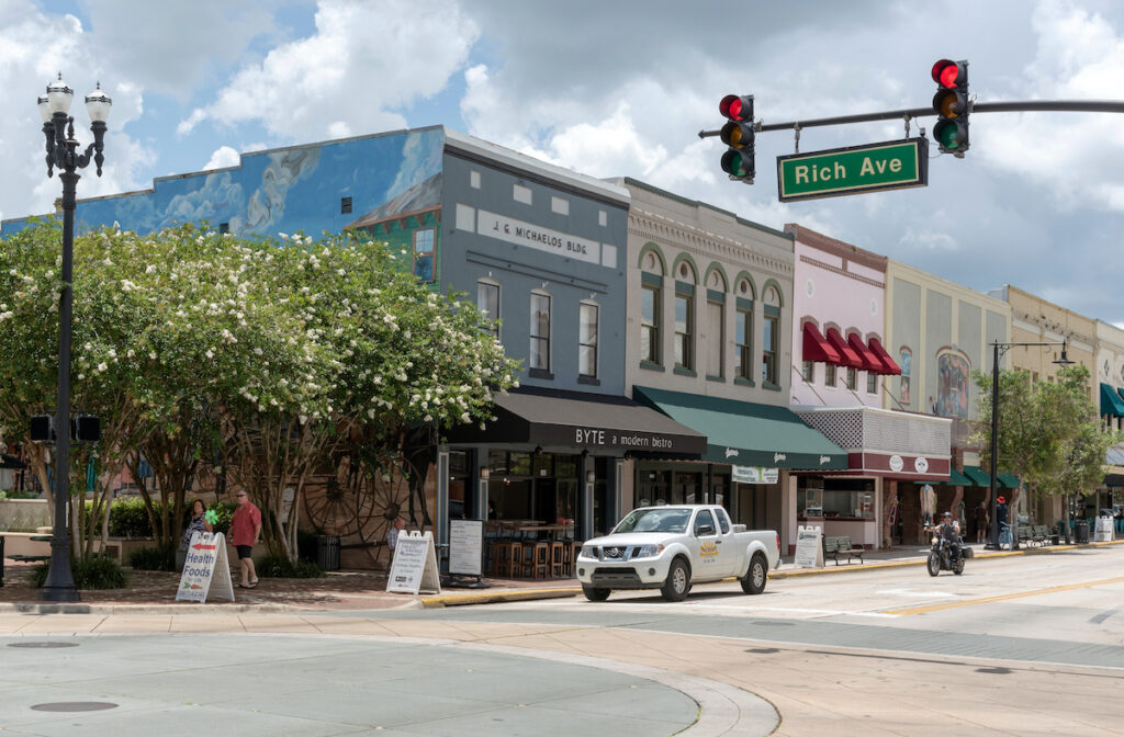 The quaint downtown area of DeLand, Florida.