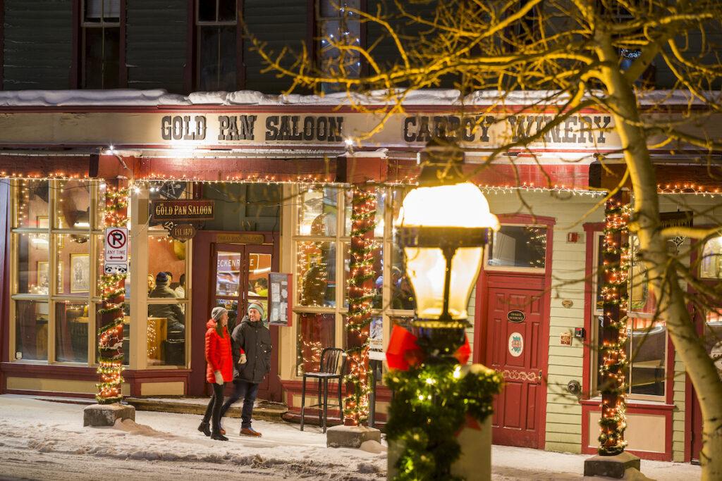 The quaint town of Breckenridge, Colorado, during Christmas.