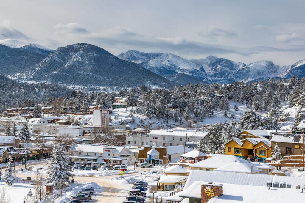 The quaint town of Estes Park, Colorado, during winter.