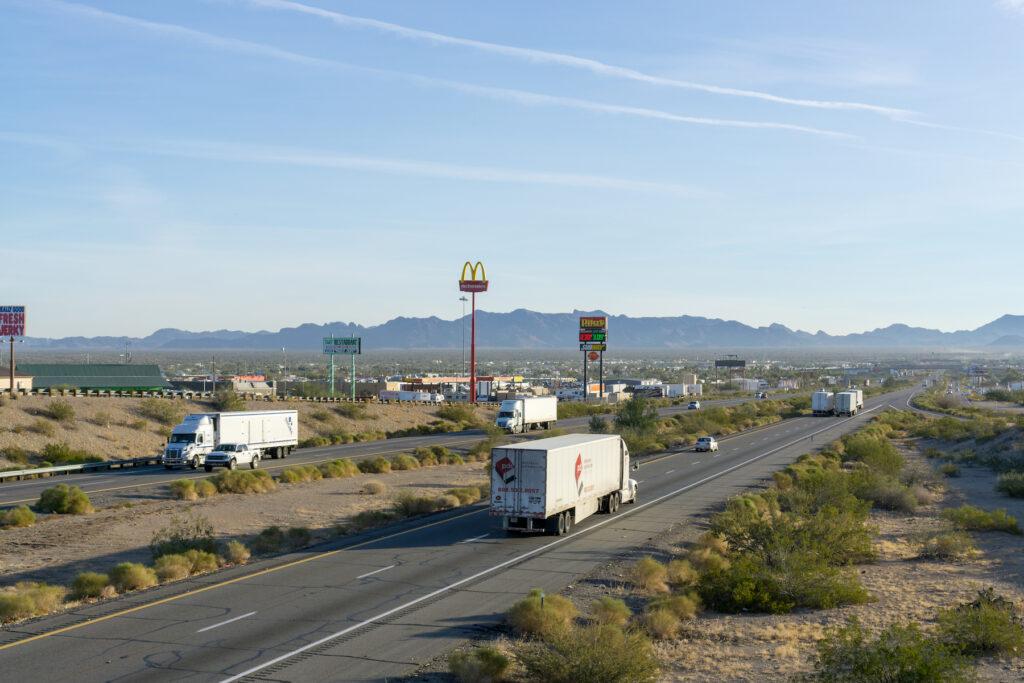 The Quartzsite exit on Arizona's Highway 60.