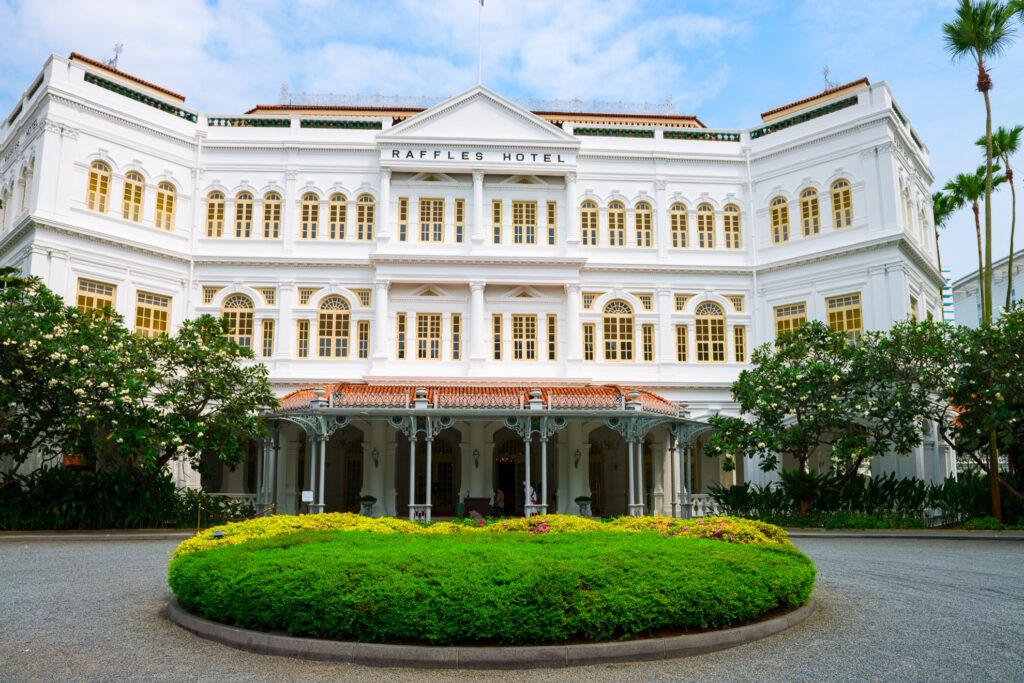 The Raffles Hotel in Singapore.