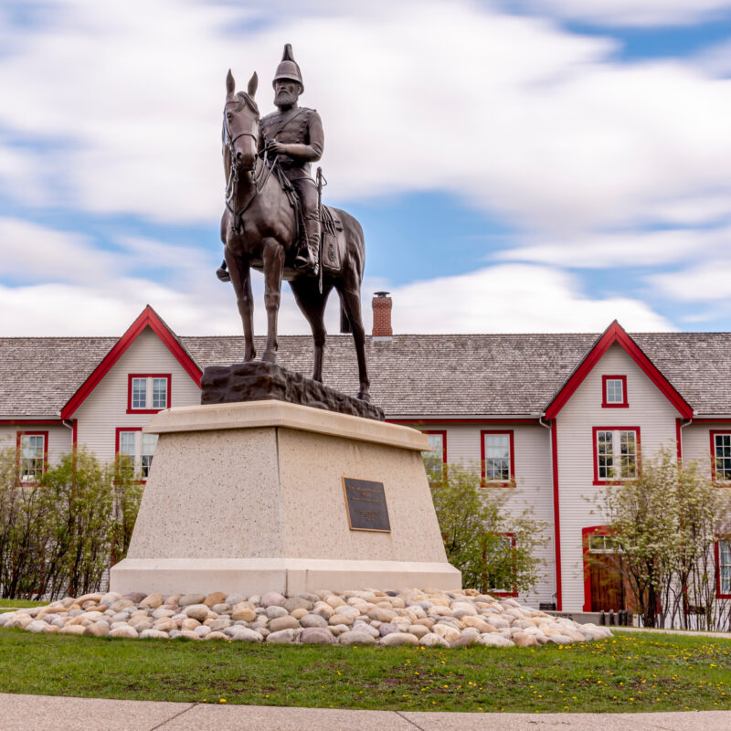 The reconstructed Fort Calgary in Canada.