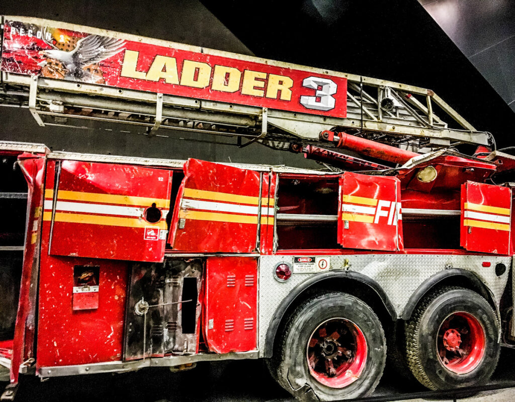 The recovered firetruck at the 9/11 Memorial in New York City.