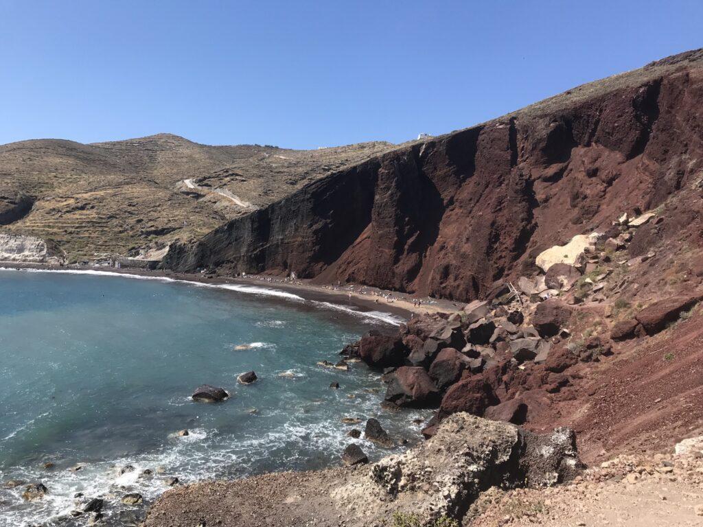 The Red Beach in Akrotiri, Greece.
