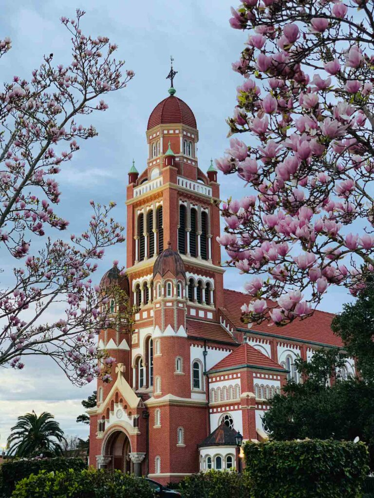 The red-brick Cathedral of St. John.