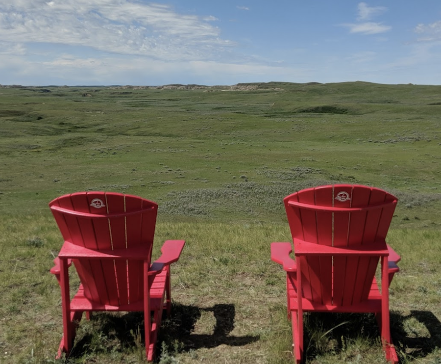 The Red Chairs in Grasslands National Park.