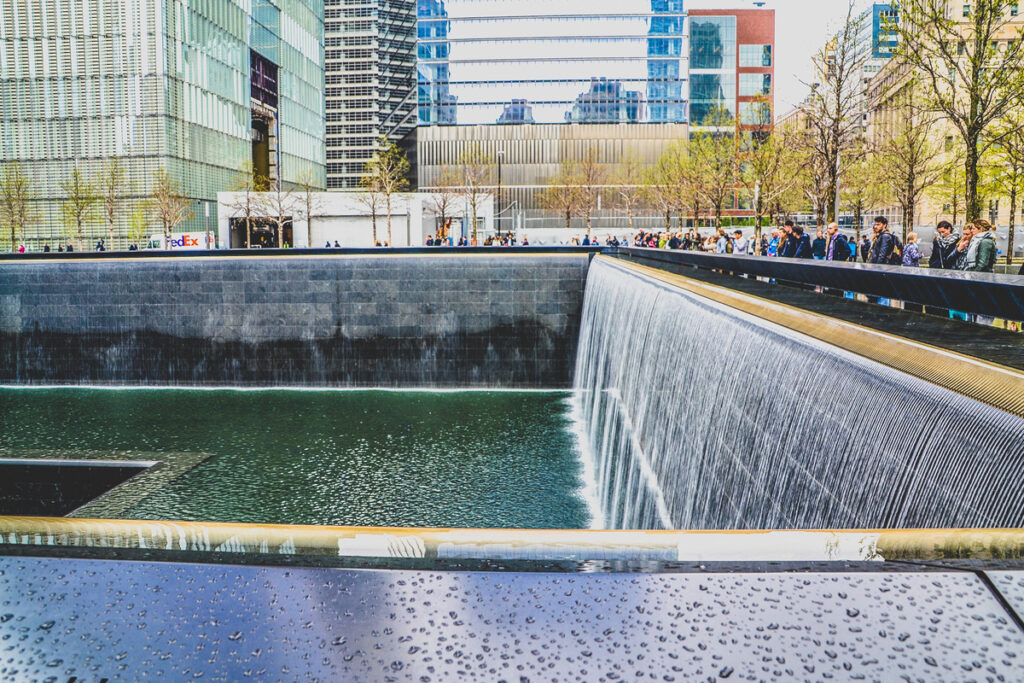 The Reflecting Pools at the 9/11 Memorial in New York City.