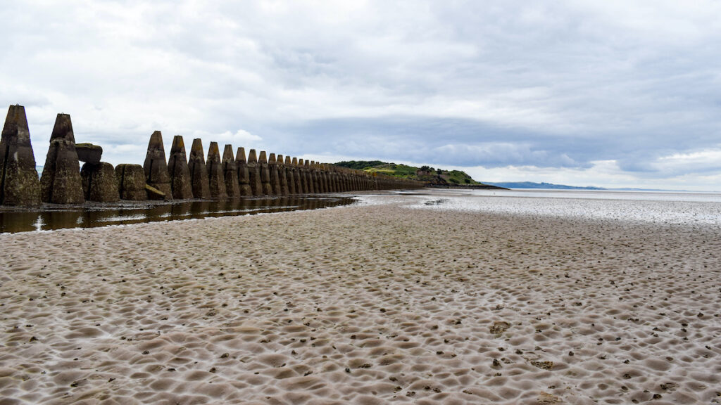 The remains of the roman fort at Cramond Beach.
