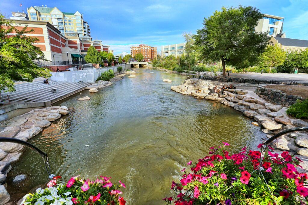 The Reno Riverwalk along the Truckee River.